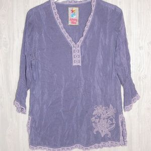 JOHNNY WAS RAYON BLUE EMBROIDERED BOHO BLOUSE